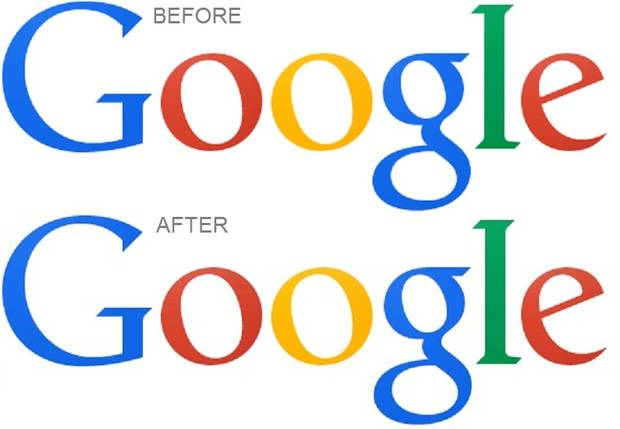 Google's old and new logo